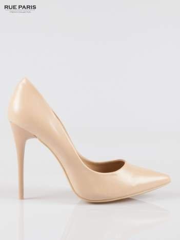 Beżowe szpilki high heels z noskiem w szpic