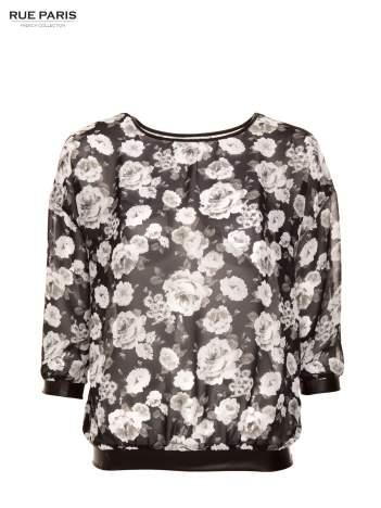Biało-czarna koszula w kwiatowy wzór ze skórzanym wykończeniem