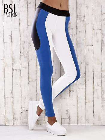 Biało-niebieskie legginsy z modułami