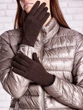 Brązowe rękawiczki z błyszczącą nicią z wywijanym mankietem