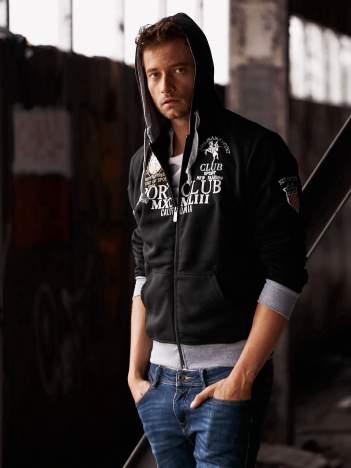 Czarna ocieplana bluza męska z kapturem i napisem SPORT CLUB