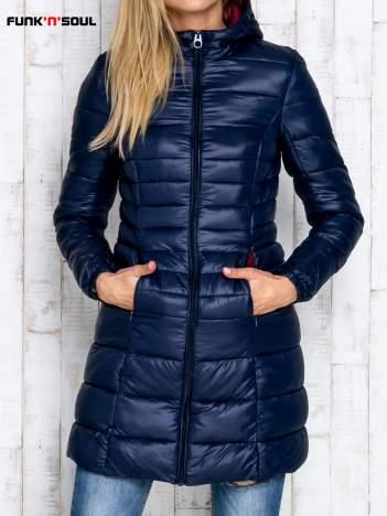 Granatowy pikowany płaszcz z kapturem FUNK N SOUL