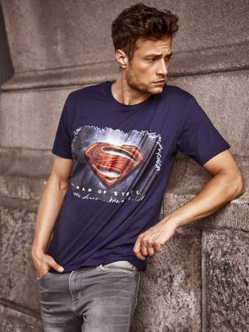 Granatowy t-shirt męski MAN OF STEEL