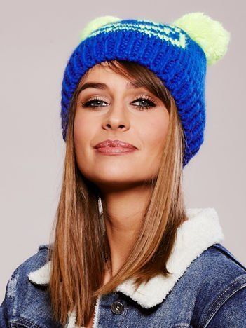 Niebieska czapka z pomponami-uszkami