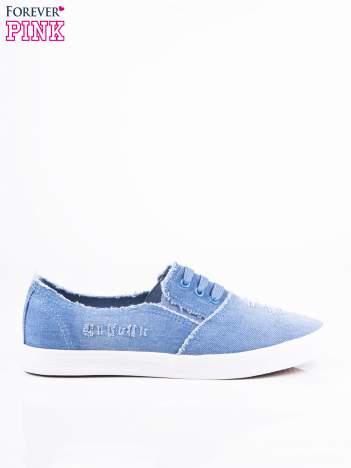Niebieskie jeansowe wsuwane tenisówki