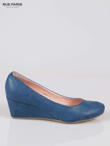 Niebieskie koturny damskie ze skóry ekologicznej