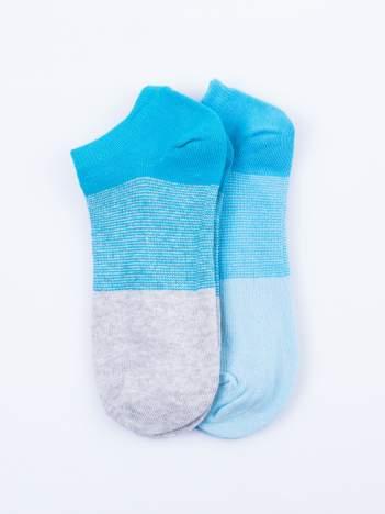 Skarpetki damskie stopki niebieski-szary zestaw 2 pary