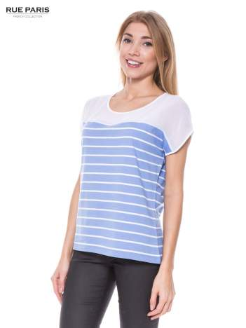 T-shirt w biało-niebieskie paski z karczkiem z szyfonu