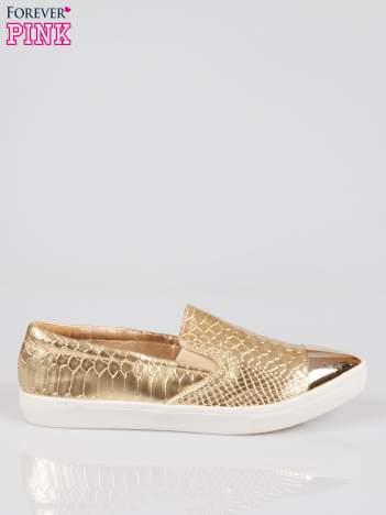 Złote wężowe buty slippers gold cap toe