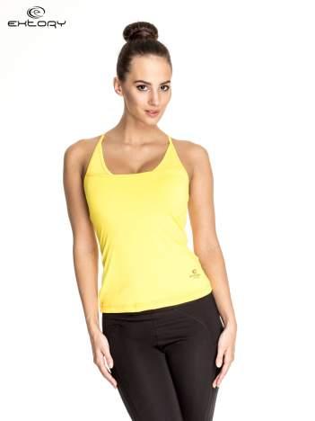 Żółty  top sportowy z siateczką i ramiączkami w kształcie litery T na plecach