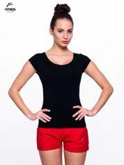 For Fitness Bawełniana czarna bluzka na krótki rękaw FOR FITNESS