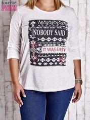 Beżowa bluzka z napisem NOBODY SAID IT WAS EASY PLUS SIZE