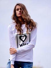 Biała bluza z błyszczącym nadrukiem