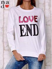Biała bluza z napisem LOVE END