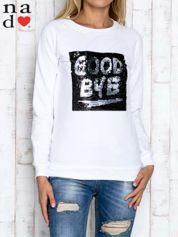 Biała bluza ze zmieniającą się naszywką z cekinów