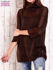Brązowy ażurowy sweter z golfem FUNK N SOUL