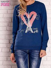 Ciemnoniebieska bluza z motywem paryskim