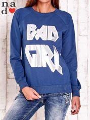 Ciemnoniebieska bluza z napisem BAD GIRL