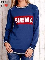 Ciemnoniebieska bluza z napisem SIEMA