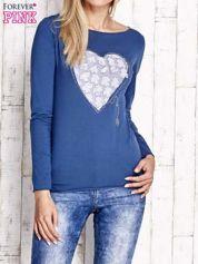 Ciemnoniebieska bluzka z materiałową wstawką