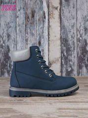 Ciemnoniebieskie buty trekkingowe damskie traperki ocieplane