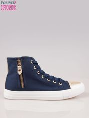 Ciemnoniebieskie sneakersy gold cap toe z suwakiem z boku