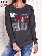 Ciemnoszara bluza z napisem NO