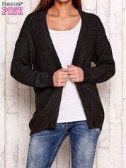 Ciemnoszary fakturowany otwarty sweter