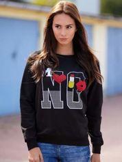 Czarna bluza z napisem NO