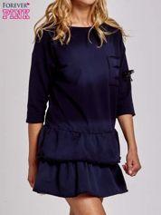 Czarna sukienka dresowa ombre z podwójną falbaną
