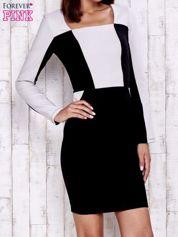 Czarna sukienka two tone z kwadratowym dekoltem
