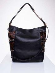 Czarna torba z motywem panterkowym i odpinanym paskiem