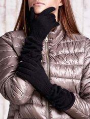 Czarne długie rękawiczki z marszczonym ściągaczem