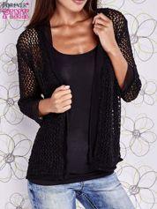 Czarny ażurowy sweter z tiulowym wykończeniem rękawów