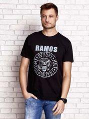 Czarny t-shirt męski z napisem RAMOS i nadrukiem