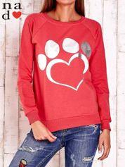 Czerwona bluza ze srebrnym nadrukiem