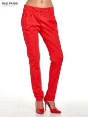 Rue Paris Czerwone spodnie cygaretki z zakładkami