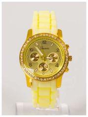 Damski zegarek z cyrkoniami i ozdobnym chronografem na wygodnym silikonowym pasku