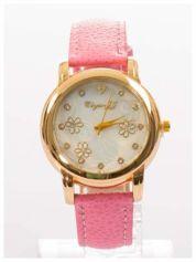Damski zegarek z cyrkoniami i zdobieniami na perłowej tarczy