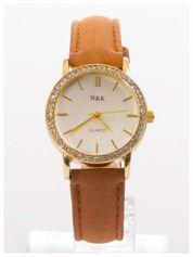 Damski zegarek z cyrkoniami, na welurowym pasku. Klasyczny z nutką elegancji.Poczuj się wyjątkowo!