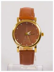 Damski zegarek z cyrkoniami z motywem wieży Eiffla na tarczy