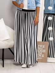 Długa spódnica maxi w biało-czarne paski