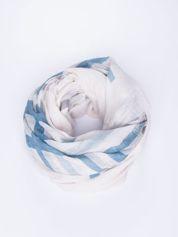 Ecru bawełniana chustka z frędzelkami
