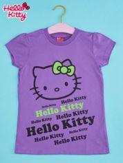 Fioletowy t-shirt dla dziewczynki HELLO KITTY z napisami