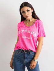 Fluo różowa bluzka z napisem
