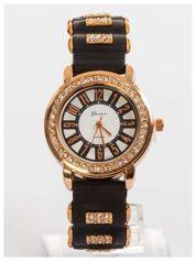 GENEVA Czarny zegarek damski z cyrkoniami na silikonowym pasku
