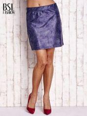 Granatowa mini spódniczka z efektem połysku
