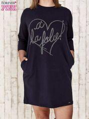 Granatowa sukienka dresowa z dżetami PLUS SIZE