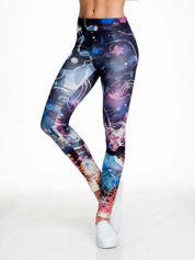 Granatowe legginsy w abstrakcyjny wzór