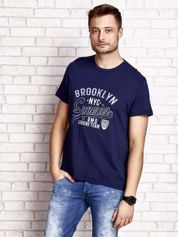 Granatowy t-shirt męski z napisem BROOKLYN NYC